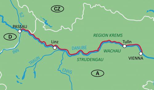 Reittikartta Passau-Wien