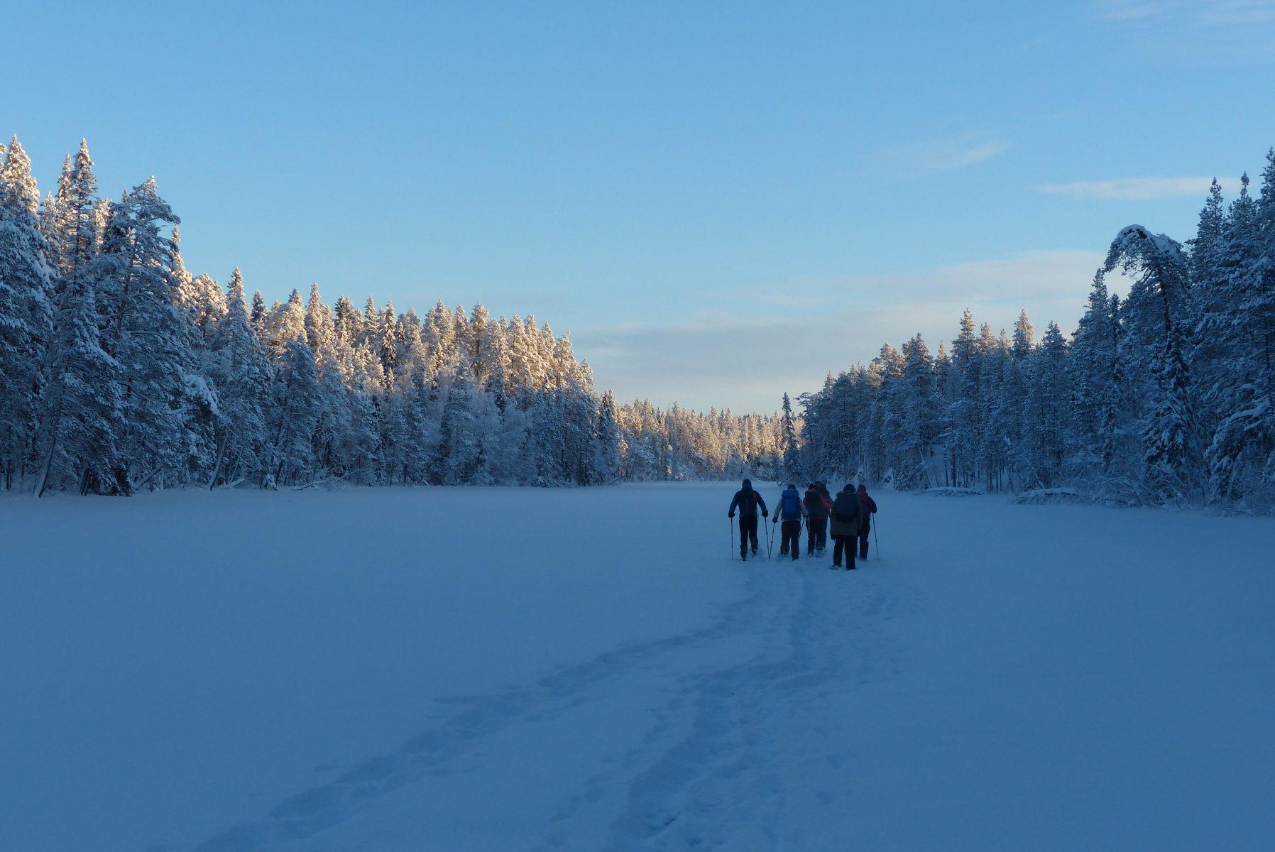 """Ryhmä lumikenkäilijöitä tammikuun """"sinisessä hetkessä"""" järven jäällä. Ympärillään kauniin kuuraiset puut."""